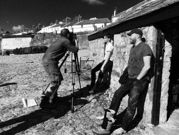Filming on a beach