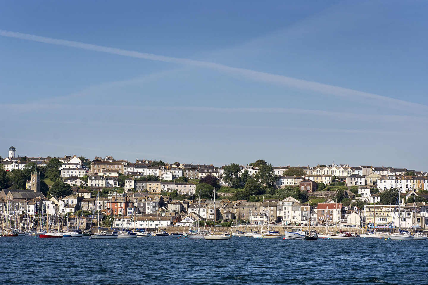 Houses in Falmouth, Cornwall viewed from the sea.