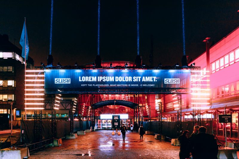 Main entrance to Slush event in Europe.